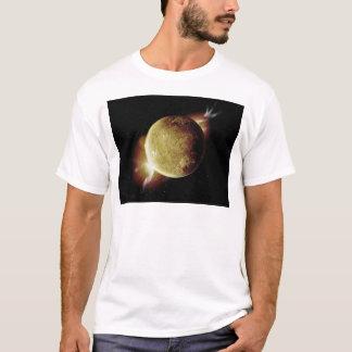 Camiseta ilustração amarela do planeta 3d no universo