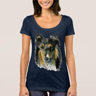 Camiseta Ilustração da aguarela do cão do Collie