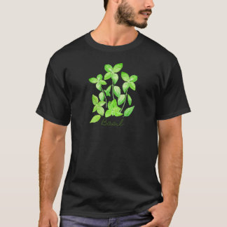 Camiseta Ilustração da manjericão da aguarela
