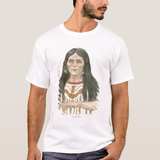 Camiseta Ilustração da mulher norte-americana nativa