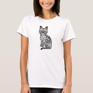 Camiseta Ilustração de prata do gato da raça de Ocicat da