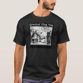 Camiseta Ilustração do branco do preto do dia de Groundhog