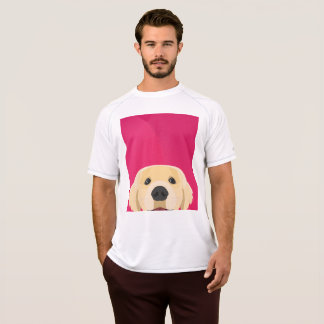 Camiseta Ilustração Retriver dourado com fundo cor-de-rosa