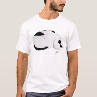 Camiseta Ilustração sonolento do gato do t-shirt do algodão