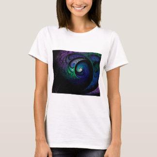 Camiseta Imagem espiral colorido do fractal na obscuridade
