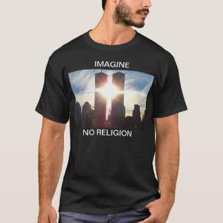 Camiseta Imagine, nenhuma religião T escuro