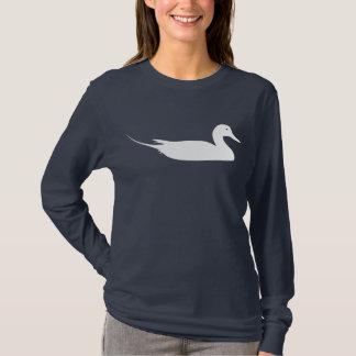 Camiseta Impressão branco do pássaro do pato do arrabio