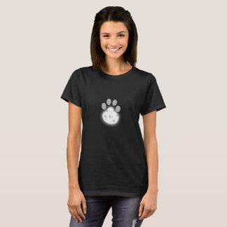 Camiseta Impressão da pata da lua das mulheres