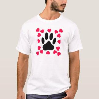 Camiseta Impressão da pata do cão preto com formas do