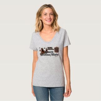 Camiseta impressão da paz Brotha/Sista das mulheres