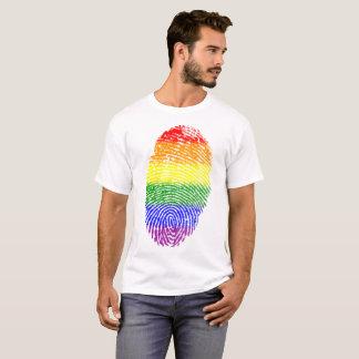 Camiseta Impressão digital do arco-íris do orgulho gay