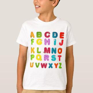 Camiseta Impressão do alfabeto das letras dos desenhos