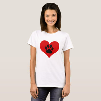 Camiseta Impressão em meu coração - o t-shirt da pata das