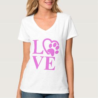 Camiseta Impressão muito bonito do coração e da pata do