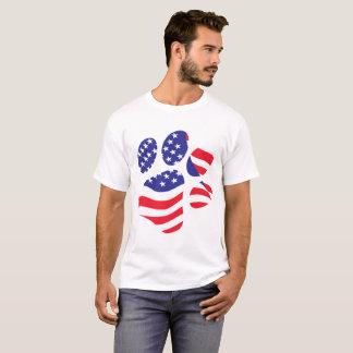 Camiseta Impressão patriótico da pata da bandeira americana