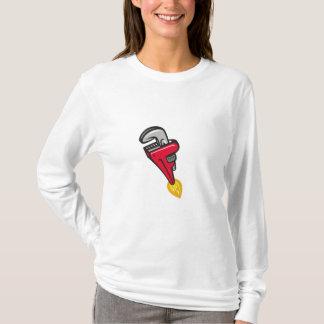 Camiseta Impulsionador de Rocket da chave de tubulação que