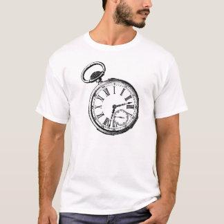 Camiseta Inclinando o relógio da cara do relógio de bolso