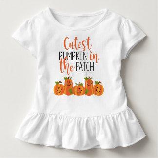 Camiseta Infantil A abóbora a mais bonito no T do plissado da