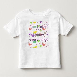 Camiseta Infantil A criança de três anos sabe-o todo