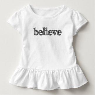 Camiseta Infantil Acredite o Tshirt do plissado da criança