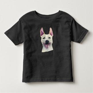 Camiseta Infantil Aguarela branca do cão de Staffordshire bull
