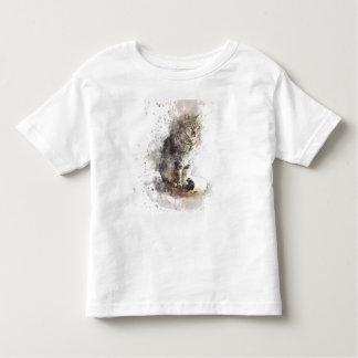 Camiseta Infantil Aguarela do gato de gato malhado