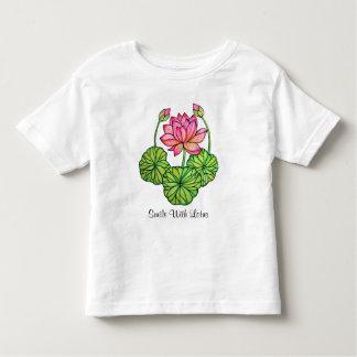 Camiseta Infantil Aguarela Lotus cor-de-rosa com botões & folhas
