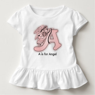 Camiseta Infantil Alfabeto do anjo um monograma inicial