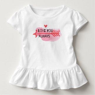 Camiseta Infantil Ame-o sempre T do plissado do dia dos namorados |