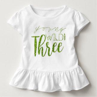 Camiseta Infantil Aniversário de 3 anos selvagem & três | verde novo