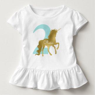Camiseta Infantil Aniversário do marco miliário do unicórnio da
