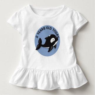 Camiseta Infantil Aniversário preto e branco personalizado da baleia