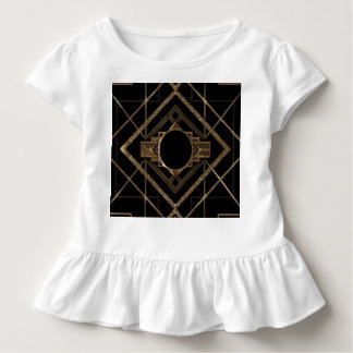 Camiseta Infantil Art deco, nouveau, vintage, preto, ouro, chique,