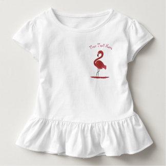 Camiseta Infantil Arte cor-de-rosa Feathery adorável do flamingo