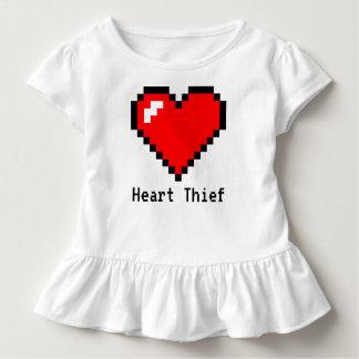 Camiseta Infantil Arte do pixel do bocado do ladrão 8 do coração -