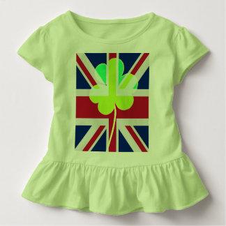 Camiseta Infantil Bandeira BRITÂNICA Ireland do trevo do trevo de St