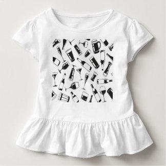 Camiseta Infantil Bebidas e vidros pretos do teste padrão