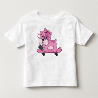 Camiseta Infantil Buldogue cor-de-rosa do hipster