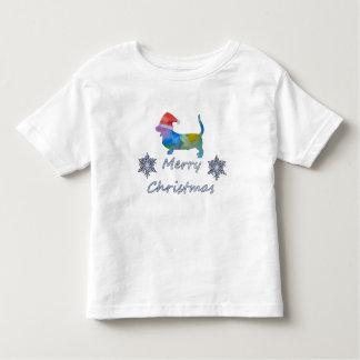 Camiseta Infantil Cão de Basset do Natal