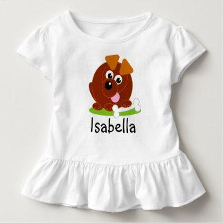 Camiseta Infantil Cão de filhote de cachorro bonito do marrom do