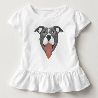 Camiseta Infantil Cão Pitbull de sorriso da ilustração