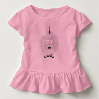 Camiseta Infantil Carneiros do unicórnio com arco-íris Zffz8