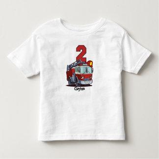Camiseta Infantil Carro de bombeiros do segundo aniversário