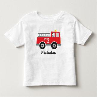Camiseta Infantil Carro de bombeiros personalizado do aniversário