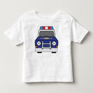 Camiseta Infantil Carro-patrulha azul corajoso da polícia