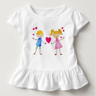 Camiseta Infantil Cartão do amor dos desenhos animados