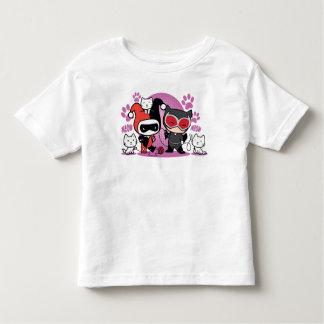 Camiseta Infantil Chibi Harley Quinn & mulher-gato de Chibi com