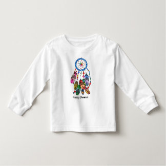 Camiseta Infantil Coletor do sonho do arco-íris da aguarela &