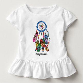 Camiseta Infantil Coletor do sonho do arco-íris da aguarela &