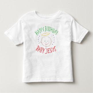 Camiseta Infantil Colora o bebê Jesus do feliz aniversario do giz